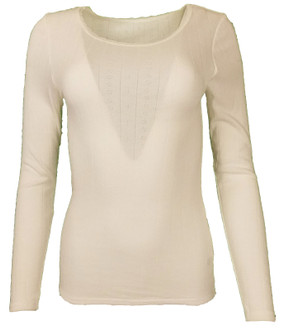 Ex M-S Ladies Long Sleeve Thermal Top Ivory - £2.50