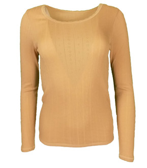 Ex M-S Ladies Long Sleeve Thermal Top Light Camel - £2.50