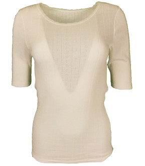 Ex M-S Ladies Short Sleeve Thermal Top Ivory - £2.50