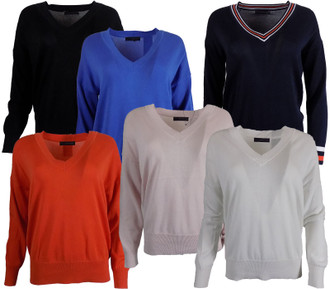 Ex M-S Ladies Pure Cotton V Neck Jumper - £4.50