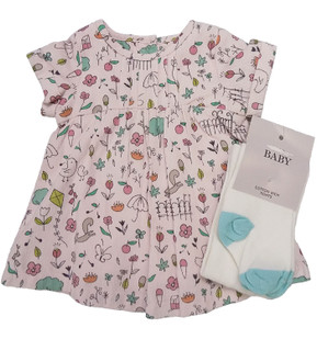 Ex M-S Baby Dress & Tights Set - £3.95