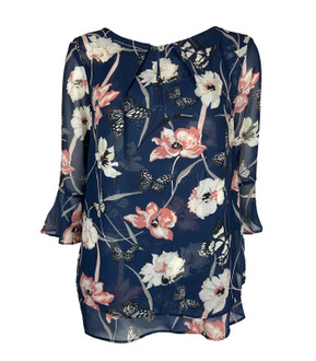 Ex M-S Ladies 3/4 Sleeve Floral Printed Top - £2.50