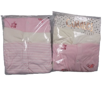 Ex Major Highstreet Girls 3 Pack Baby Sleepsuits - £3.95
