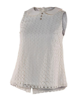 Ex M-ss S-lfridge Peter Pan Neck Lace Top - WAS £5.50   NOW £3.00