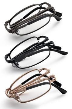 Gold Black Gunmetal folding pocket size reading glasses