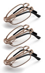 Folding Reading Glasses-Set of Three Gold