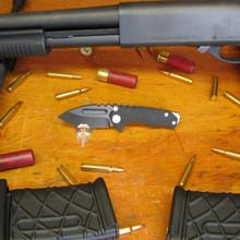 Medford Knife & Tool, Micro Praetorian, Black G10/Ti Flame Finish Handle, D2 Vulcan Finish Blade front
