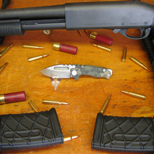 Medford Knife & Tool, Micro Praetorian, Digi Camo G10/Ti Flame Finish Handle, D2 Vulcan Finish Blade front