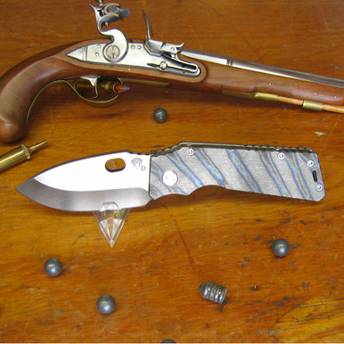 Medford Knife & Tool, TFF-1 Fat Daddy, Flame Finish Titanium, Tumbled D2 Blade front