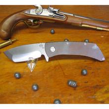Medford Knife & Tool, TFF-2, Bronze Titanium Handle, Tumbled D2 Blade front