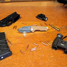Medford Knife & Tool, Praetorian Genesis G, Tanto, Coyote G10/Ti Handle, D2 Vulcan Blade front