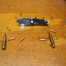 Medford Knife & Tool, Micro Praetorian, Black G10/Ti Bronze Ano Finish Handle, D2 PVD Blade front