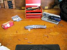 Medford Knife & Tool Marauder, D2 Vulcan Finish Blade, Flame Finish Titanium Handles 1, front