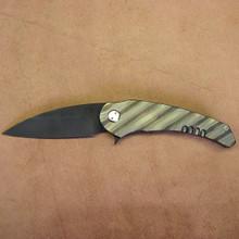 Medford Knife & Tool Wypeer, D2 Black Oxide Finished Blade, Flame Finished Titanium Handles