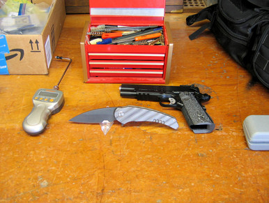 Medford Knife & Tool Wypeer, D2 Black Oxide Finished Blade, Flame Finished Titanium Handles, front
