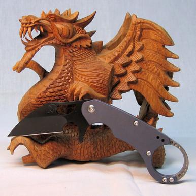 Medford Knife & Tool Burung, D2 Blade PVD, Ti Handle, Ti Lock, Blue Ano VLT, front