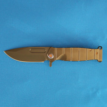 Medford Knife & Tool USMC Flipper, S35VN PVD Blade, PVD Ti Handles, Flamed Ti Hardware front