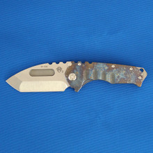 Medford Knife & Tool Praetorian T, 3V Tumbled Tanto Blade, Faced & Flamed Handle, Blue Ano Spring front