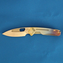 Medford Knife & Tool Infraction, S35VN Tumbled Blade, Custom ANO Fade Handle front