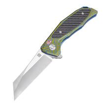 Artisan Megahawk Folder 3.62 in Fancy Blue Titanium S35VN
