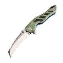Artisan Eagle Folder 3.46 in Fancy Green Titanium S35VN