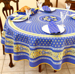 Marat Avignon Bastide Blue French Tablecloth Round 180cm COATED Made in France