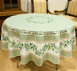 Ramatuelle Green French Tablecloth  Round 180cm COATED Made in France