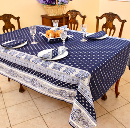 Marat Avignon Bastide Navy French Tablecloth 155x300cm 10Seats COATED Made in France