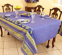 Marat Avignon Bastide Blue French Tablecloth 155x300cm 10seats COATED Made in France