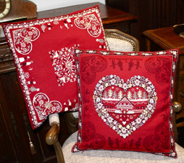 Montagne Red Double Sided French Jacquard Cushion Cover Made in France