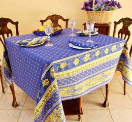 Marat Avignon Bastide Blue Square French Tablecloth 150x150cm Made in France