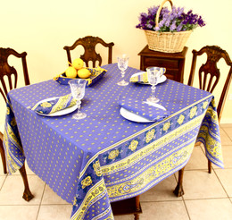 Marat Avignon Bastide Blue Square 150x150cm COATED Tablecloth Made in France