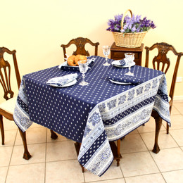 Marat Avignon Bastide Navy Square 150x150cm COATED FrenchTableclot Made in Franceh