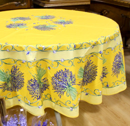 Lavender Yellow French Tablecloth Round 180cm COATED Made in France