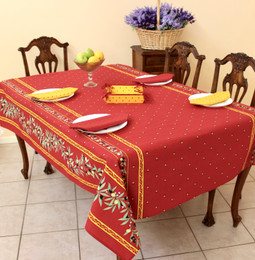 Ramatuelle Red French Tablecloth 155x300cm 10seats COATED Made in France
