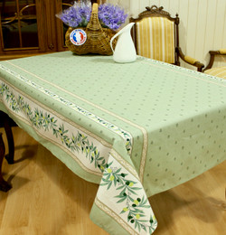Ramatuelle Green French Tablecloth 155x300cm 10seats COATED Made in France