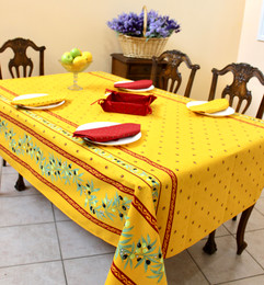 Ramatuelle Yellow/Red French Tablecloth 155x300cm 10seats COATED Made in France