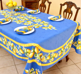 Lemon Blue French Tablecloth 155x250cm 8Seats Made in France