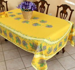 Lavender Yellow French Tablecloth 155x250cm 8seats COATED Made in France