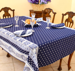 Marat Avignon Bastide Navy French Tablecloth155x200cm 6Seats COATED Made in France