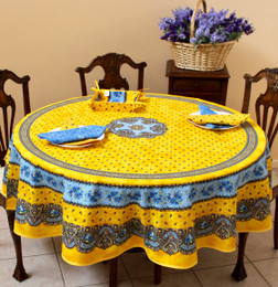Marat Avignon Tradition Yellow French Tablecloth Round 180cm Made in France