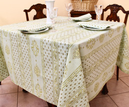 Marat Avignon Manoir Green French Tablecloth 155x200cm 6Seats Made in France