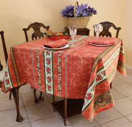 Marat Tradition Rust Square French Tablecloth 150x150cm Made in France