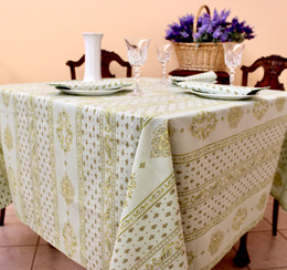 Marat Avignon Manoir Green Square Tablecloth 150x150cm Made in France