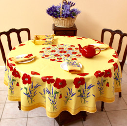 POPPY Yellow French Tablecloth Round 180cm Made in France