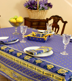 Marat Avignon Bastide Blue French Tablecloth 155x200cm 6Seats COATED Made in France