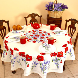 Poppy Ecru French Tablecloth Round 180cm Made in France