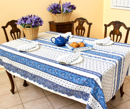 Marat Avignon Tradition White French Tablecloth 155x300cm 10Seats COATED Made in France