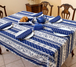 Marat Avignon Blue French Tablecloth 155x250cm 8Seats Made in France