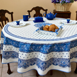 Marat Avignon Tradition White Round 180cm Tablecloth COATED Made in France